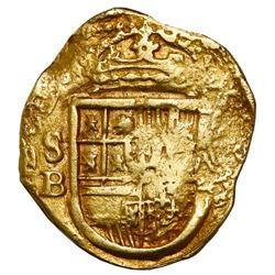 Seville, Spain, cob 2 escudos, Philip III, 1611B.