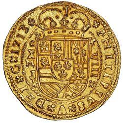 Mexico City, Mexico cob 8 escudos Royal (galano) 1713J extremely rare NGC MS 66 finest ex-1715 Fleet