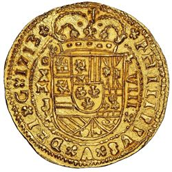 Mexico City, Mexico cob 8 escudos Royal (galano) 1713J extremely rare NGC MS 66 finest ex-1715 Fleet