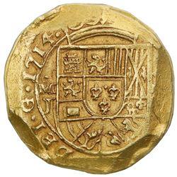 Mexico City, Mexico, cob 8 escudos, 1714J, NGC UNC details / rim filing, ex-1715 Fleet (designated o