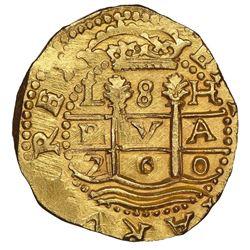 Lima, Peru, cob 8 escudos, 1700H, NGC MS 65, finest known in NGC census, ex-1715 Fleet (designated o