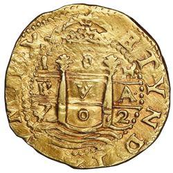 Lima, Peru, cob 8 escudos, 1702H, rare, NGC AU 58.