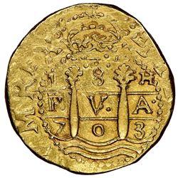 Lima, Peru, cob 8 escudos, 1703H, rare, NGC AU 55, ex-1715 Fleet (designated on special label)