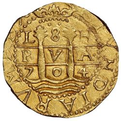 Lima, Peru, cob 8 escudos, 1704H, rare, NGC MS 63, finest known in NGC census, ex-1715 Fleet (design