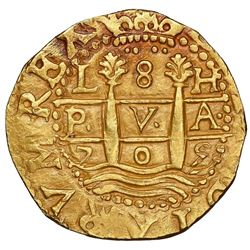 Lima, Peru, cob 8 escudos, 1705H, rare, NGC MS 62, ex-1715 Fleet (designated on special label).