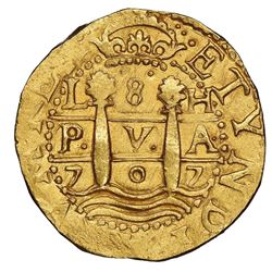 "Lima, Peru, cob 8 escudos, 1707H, rare, NGC MS 63 (""top pop""), ex-1715 Fleet (designated on special"