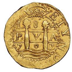 Lima, Peru, cob 8 escudos, 1707H, rare, NGC MS 63 ( top pop ), ex-1715 Fleet (designated on special