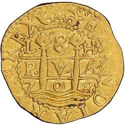 Lima, Peru, cob 8 escudos, 1708H, NGC AU 50, ex-1715 Fleet (designated on special label).