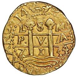 """Lima, Peru, cob 8 escudos, 1714/3M, rare, NGC MS 62 (""""top pop""""), Tauler Plate Coin."""