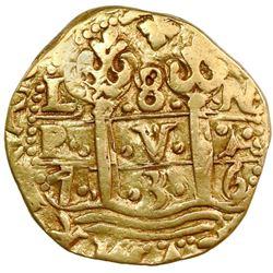 Lima, Peru, cob 8 escudos, Philip V, 1736N.