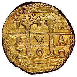 Lima, Peru, cob 4 escudos, 1700H, Charles II, rare, NGC UNC details / edge filing, ex-1715 Fleet (de