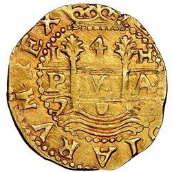 Lima, Peru, cob 4 escudos, 1702H, extremely rare, NGC AU 55, finest known.