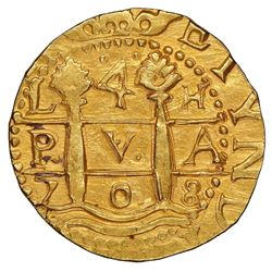 Lima, Peru, cob 4 escudos, 1708H, very rare (possibly unique), NGC MS 62, finest and only example in