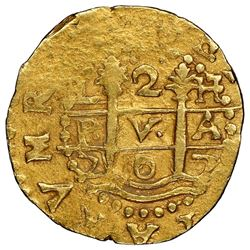 Lima, Peru, cob 2 escudos, 1707H, ISPANIA (no H), very rare, NGC AU 55, finest known in NGC census,