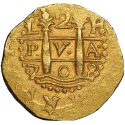 Lima, Peru, cob 2 escudos, 1708H, very rare, NGC MS 63, finest and only example in NGC census, ex-17