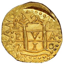 Lima, Peru, cob 2 escudos, 1710H, NGC MS 65, finest known in NGC census, ex-1715 Fleet (designated o