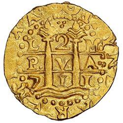 "Lima, Peru, cob 2 escudos, 1711M, NGC MS 65, ex-1715 Fleet (""Tricentennial Hoard"" or ""300th Annivers"