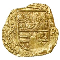 Bogota, Colombia, cob 2 escudos, Philip IV, assayer R to right, mintmark NR to left (early 1650s), e