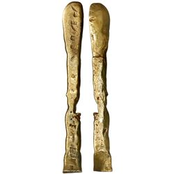 """Gold """"tumbaga"""" bar #M-1014, 310 grams, marked with six finenesses VI, two letters B (or R), and five"""