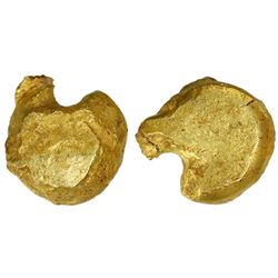 Hammered gold nugget, 19.0 grams, ex-Espadarte (1558), ex-Jones (Plate Piece).
