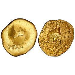 Gold disk, 216.4 grams, marked XIX-dot (19-1/4K), ex-1715 Fleet (Fisher certified).