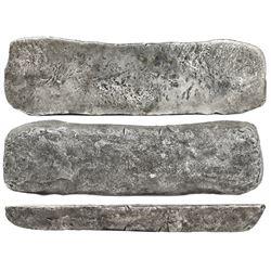 "Silver ""tumbaga"" bar #M-87, 18.75 lb av, marked with fineness IUBIILXXV (1775/2400), plus serial num"
