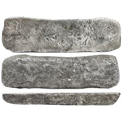 "Silver ""tumbaga"" bar #M-87, 18.75 lb av, marked with fineness IUBIILXXV (1775/2400), plus serial num"