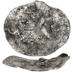 """Large silver """"splash"""" ingot, 2477 grams, marked with fineness IIU CCC L X (2360/2400) and two crowne"""