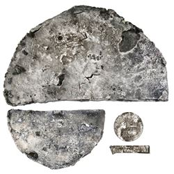 """Half-cut of a silver """"splash"""" ingot, 1350 grams, marked with fineness IIU CCC L (2350/2400) and crow"""