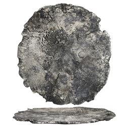 "Large silver ""splash"" ingot 3186 grams, marked with tax stamp (crowned pillars, PLVS VLTRA and M wit"