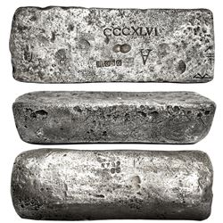 Large silver bar #799 from Potosi, 76 lb 3.84 oz troy, Class Factor 1.0, with markings of mine/date