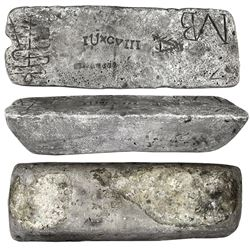 Large silver bar #721 from Oruro, 85 lb 5.28 oz troy, Class Factor 0.8, marked with fineness IIUCCCL