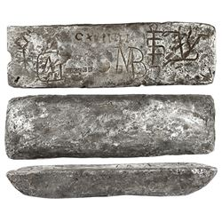 Silver bar #616 from Oruro, 43 lb 4.4 oz troy, Class Factor 0.9, with markings of manifest CXLIIIII
