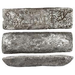 Silver Atocha bar #616 from Oruro, 43 lb 4.4 oz troy, Class Factor 0.9