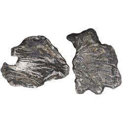 "Lot of two small silver ""splash"" ingots, 189 grams total, ex-1733 Fleet."