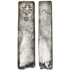 Neatly formed silver ingot, 1941 grams, about 98.5% fine, with stamps of the Amsterdam chamber of th