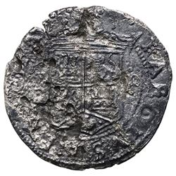 """Mexico City, Mexico, 2 reales, Charles-Joanna, """"Early Series,"""" assayer R (Gothic) at bottom between"""