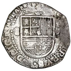 Seville, Spain, cob 8 reales, Philip II, assayer Gothic D at 4 o'clock outside tressure on reverse,