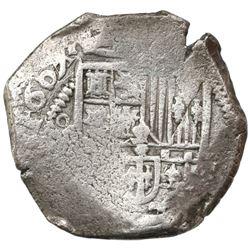 Mexico City, Mexico, cob 4 reales, 1607/GRATIA, assayer not visible (F), rare, Grade 1.