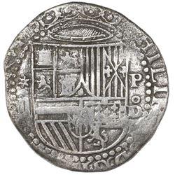 Lima, Peru, cob 2 reales, Philip II, assayer Diego de la Torre, *-ii to left, P-oD to right, Atocha