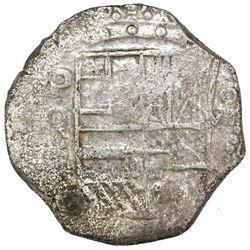 Potosi, Bolivia, cob 8 reales, Philip III, assayer Q, Grade 1 (tag missing).