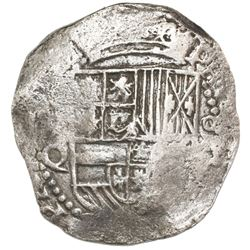 Potosi, Bolivia, cob 8 reales, Philip III, assayer Q, Grade 1.