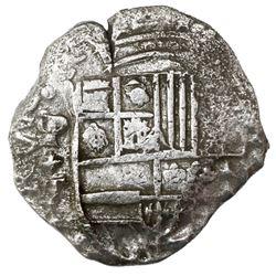 Potosi, Bolivia, cob 8 reales, Philip III, assayer T, Grade 2.