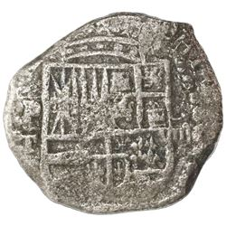 Potosi, Bolivia, cob 8 reales, Philip III, assayer T, upper half of shield transposed, no Grade on c