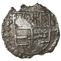 Potosi, Bolivia, cob 8 reales, Philip III, assayer T, quadrants of cross transposed, Grade 3.