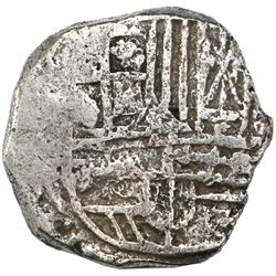 Potosi, Bolivia, cob 4 reales, Philip III, assayer not visible, Grade 1.