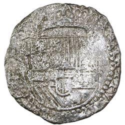 Potosi, Bolivia, cob 4 reales, Philip II, assayer not visible, Grade 2.