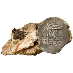 Mexico City, Mexico, cob 8 reales, Philip IV, assayer P, in large clump of debris, ex-Webber, with D