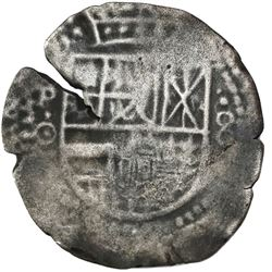 Potosi, Bolivia, cob 8 reales, (1649)O, with crown-alone (rare type) countermark on cross side.