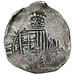 Potosi, Bolivia, cob 8 reales, (1650-1)O, with crowned-arms countermark on cross side, ex-Jones (Pla